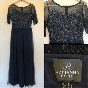 Adrianna Papell Beaded Navy Evening Gown Dress